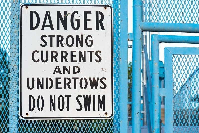 Danger Undertow Sign